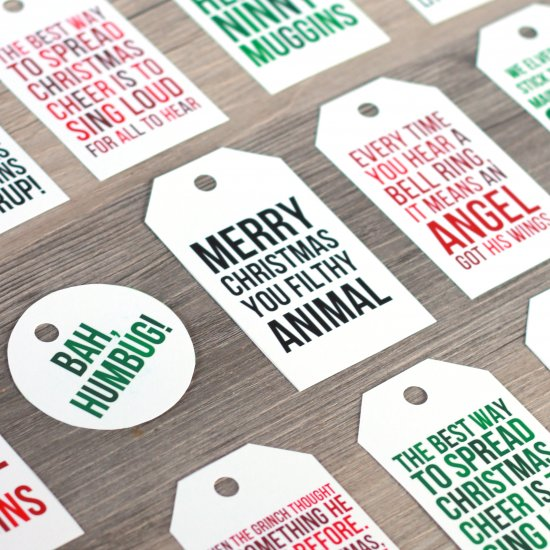 Free holiday movie quote printable gift tags by The Happy Tulip make us happy.