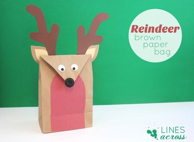 Reindeer brown paper bag gift wrap DIY from Lines Across
