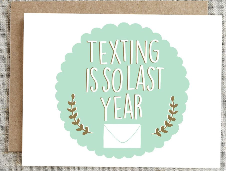"Give snail mail some love with these ""Texting Is So Last Year"" thank you cards from Rhubarb Paper Co."