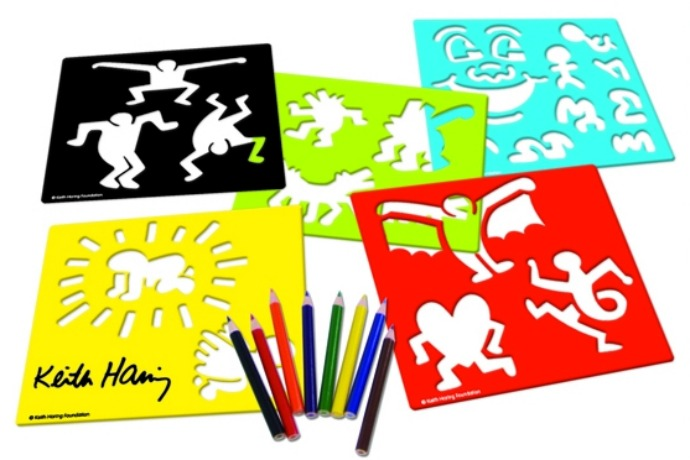 This cool Keith Haring wooden stencil set will inspire your kid to draw like…well, Keith Haring.
