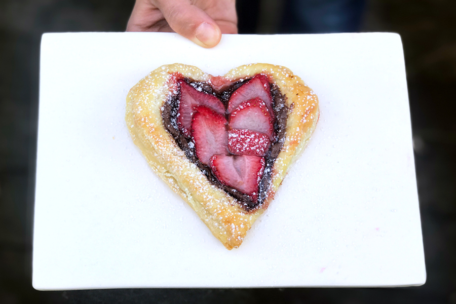 last-minute-valentines-day-gifts: Nutella Strawberry Heart Puff Pastry by Stacie Billis