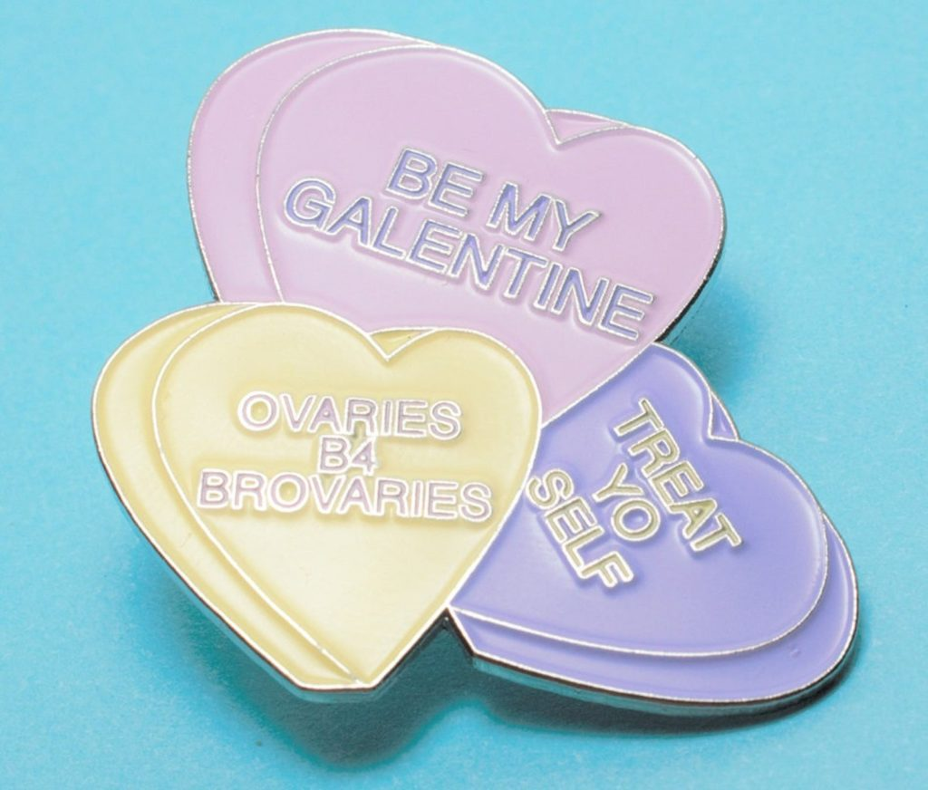 Galentine's gifts for your BFF: enamel candy heart pin from Bunny Designs