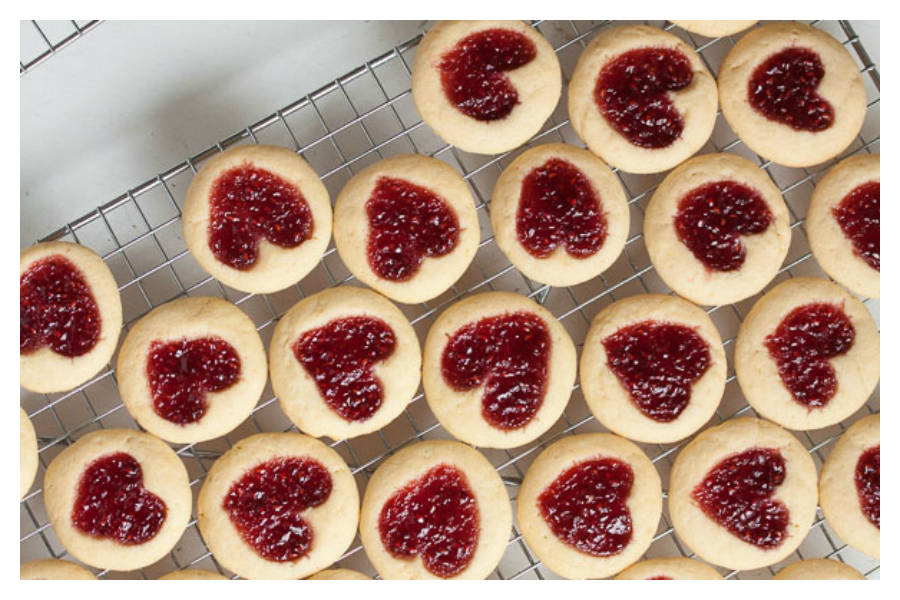 Last-minute Valentine's Day gifts: Heart-Shaped Jam Thumbprint Cookies by Wanna Come With?