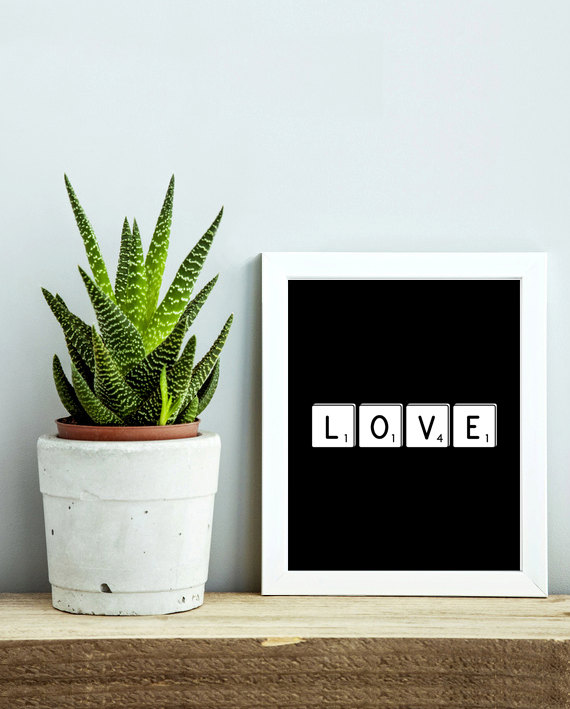 Last-minute Valentine's Day gifts: Typography Printable Artwork by Hello Alex