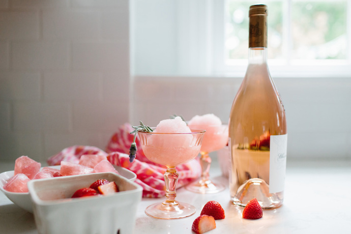 Rose Slushy Cocktail recipe from Style Me Pretty: Perfect for date night at home ideas
