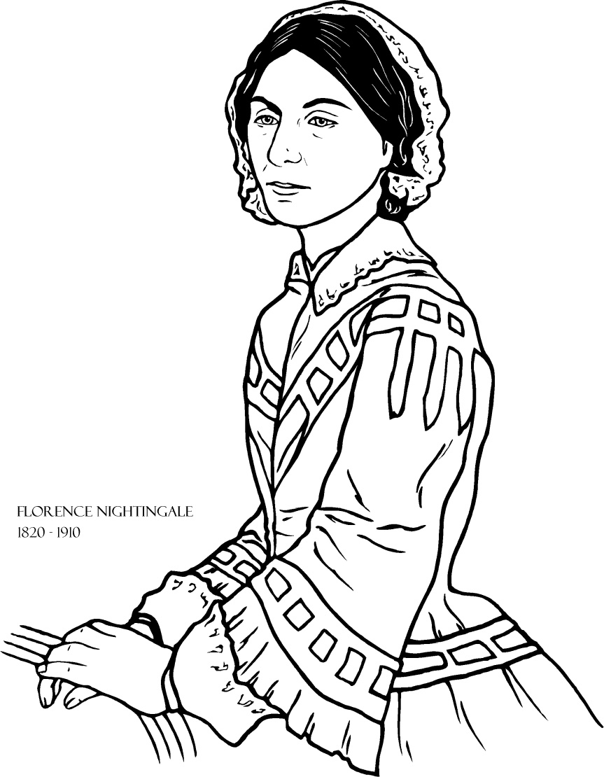 Florence Nightingale coloring page for Women's History Month