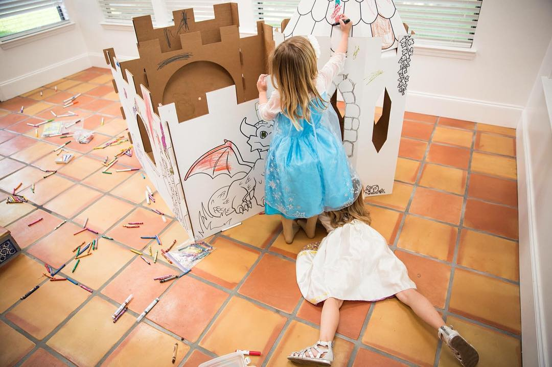 Color your own playhouse castle makes a great Beauty and the Beast party activity! This one via PopUp Play