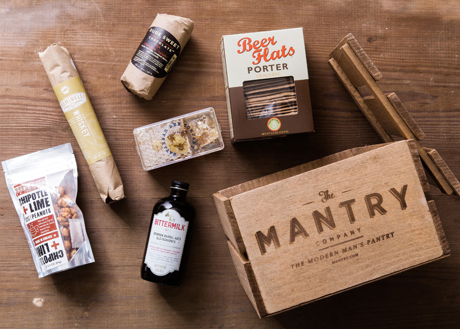 Cool subscription gifts for men: Artisan foods from Mantry in a cool reusable crate.