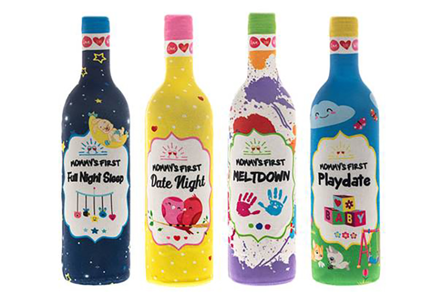 Mommy Milestone wine bottle labels from Two Peas make a hilarious baby shower gift idea | Cool Mom Picks