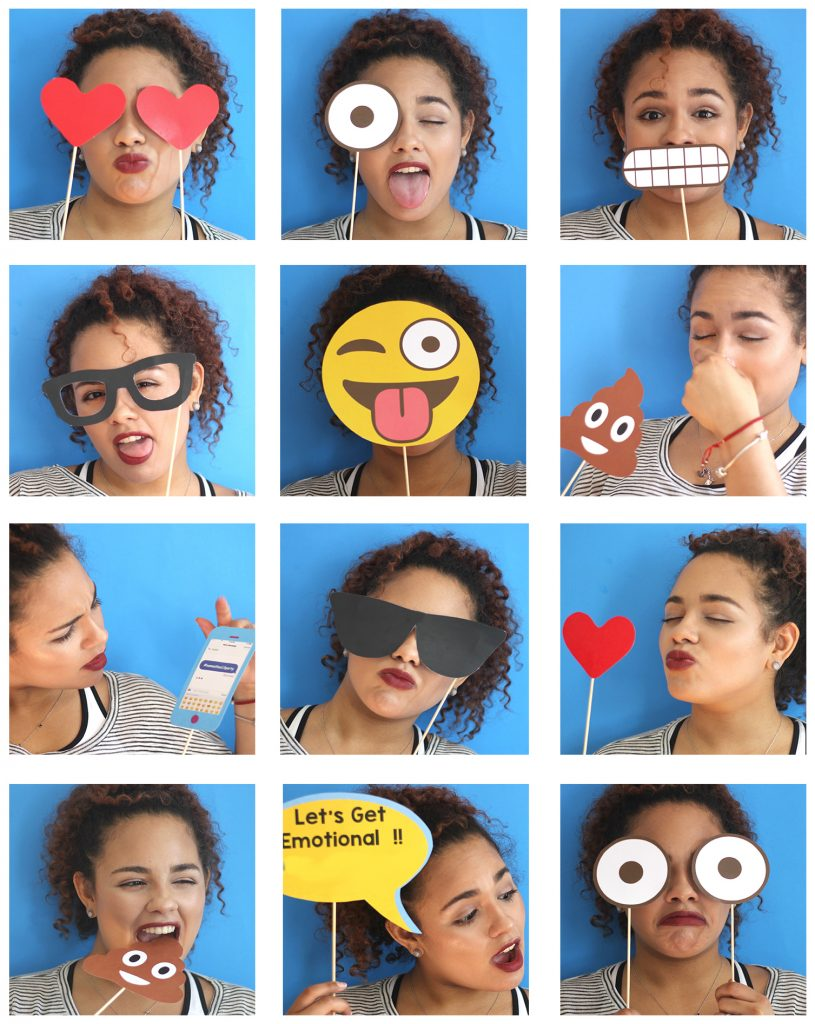 Printable emoji photo booth props for parties! Via Simply Made by Sam