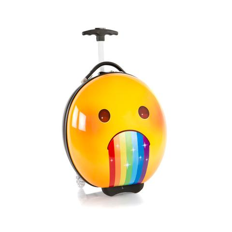 Emoji luggage at Heys includes the emoji puking up a rainbow...is that even an emoji?
