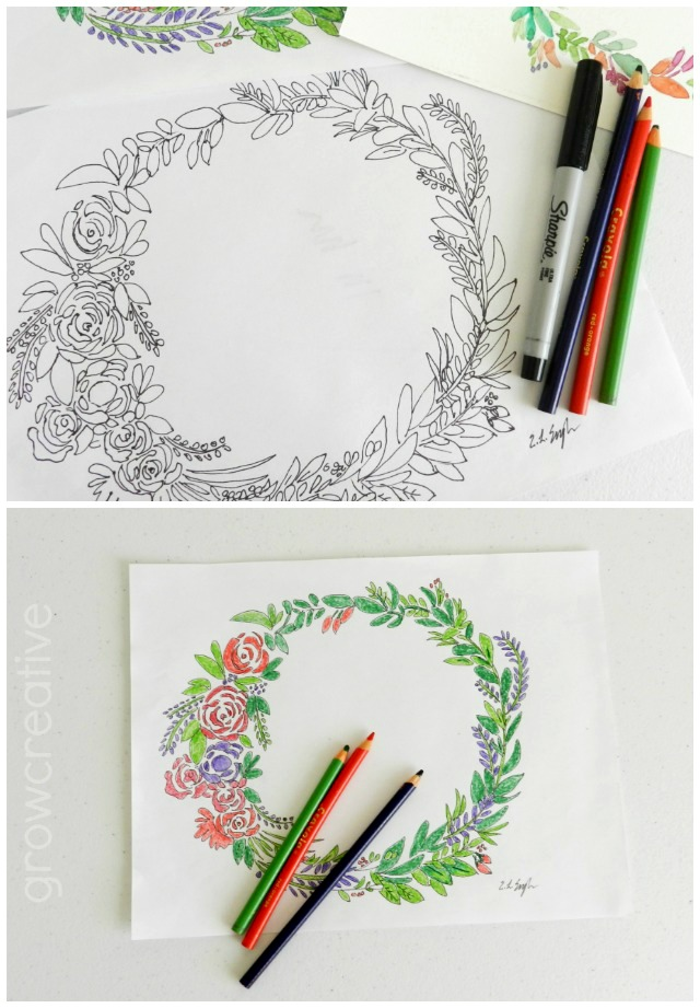 Summer coloring pages for teens: Free Floral Wreath Coloring Page | Grow Creative