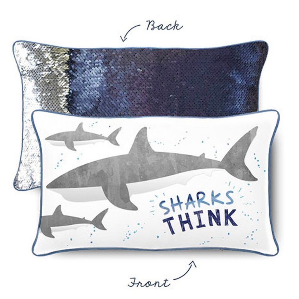 Mermaid pillow: Shark Positivity Pillow by Mermaid Pillow Co.