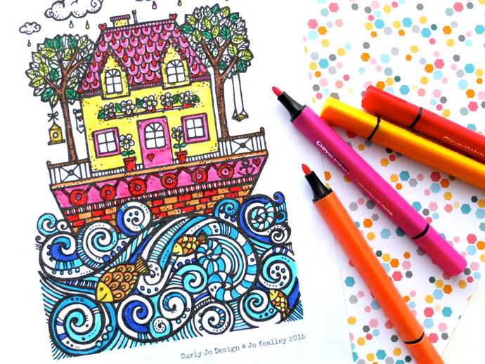 Summer coloring pages for teens: Free Sail Away Coloring Page | Curly Jo Desi via My Poppet