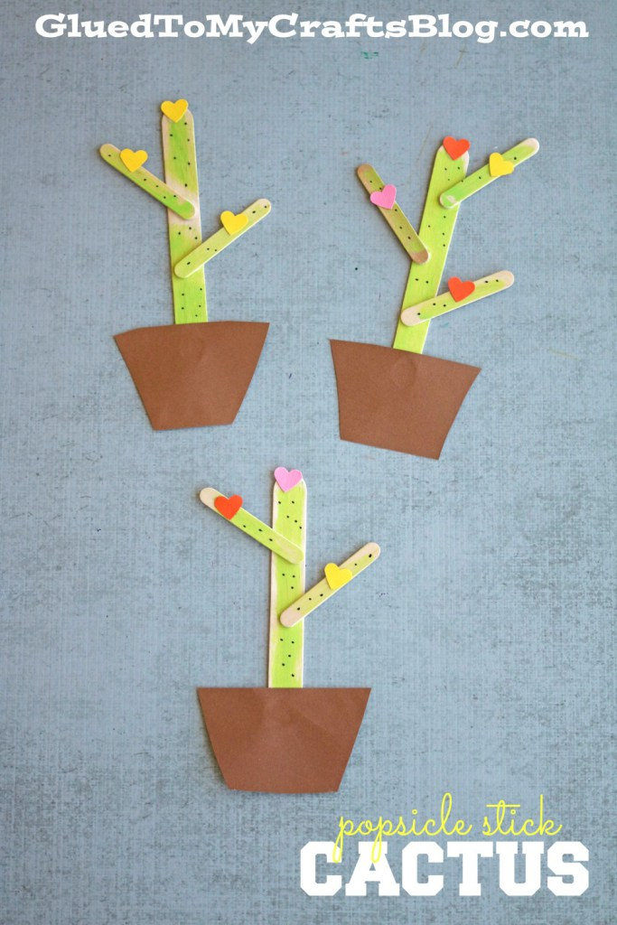 Cactus crafts for kids: Popsicle Stick Cactus | Glued to My Crafts