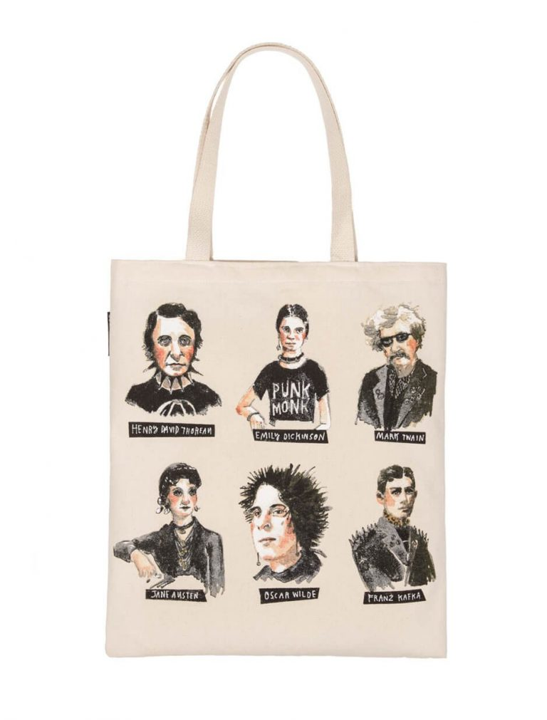 Practical holiday gifts for teachers: Out of Print tote bags with some edge.