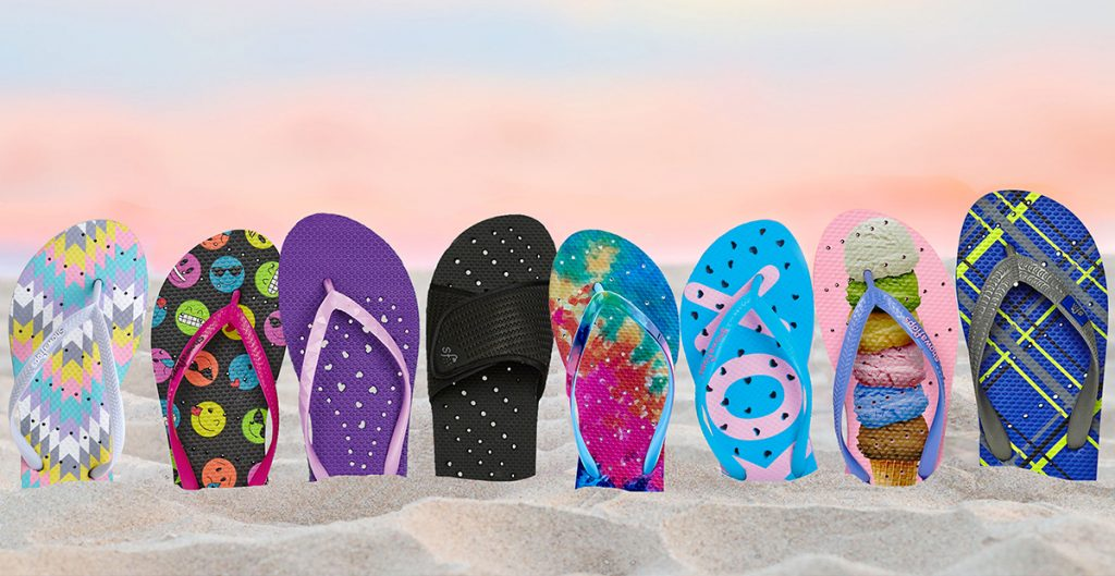 Cool summer camp care package ideas: Showaflop flip flops in great styles for boys and girls | coolmompicks.com