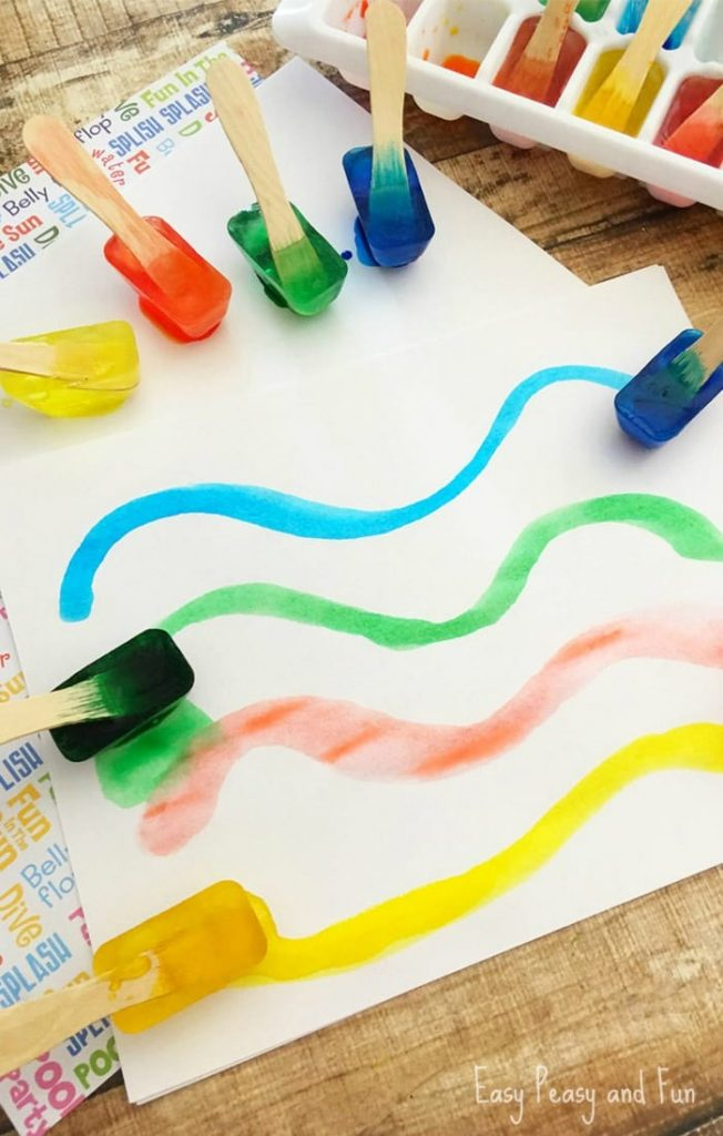 Summer ice activities: Ice Paint by Easy Peasy and Fun