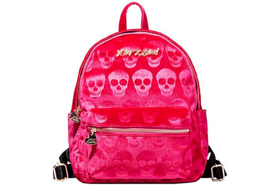 Betsey Johnson purses Head of the Class Velvet Skull Backpack