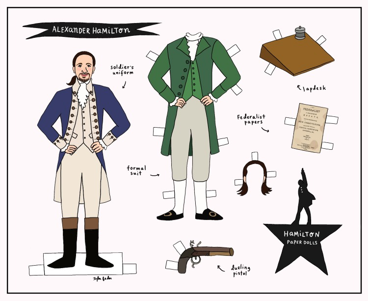 free printable paper dolls: alexander hamilton paper doll by tyler feder