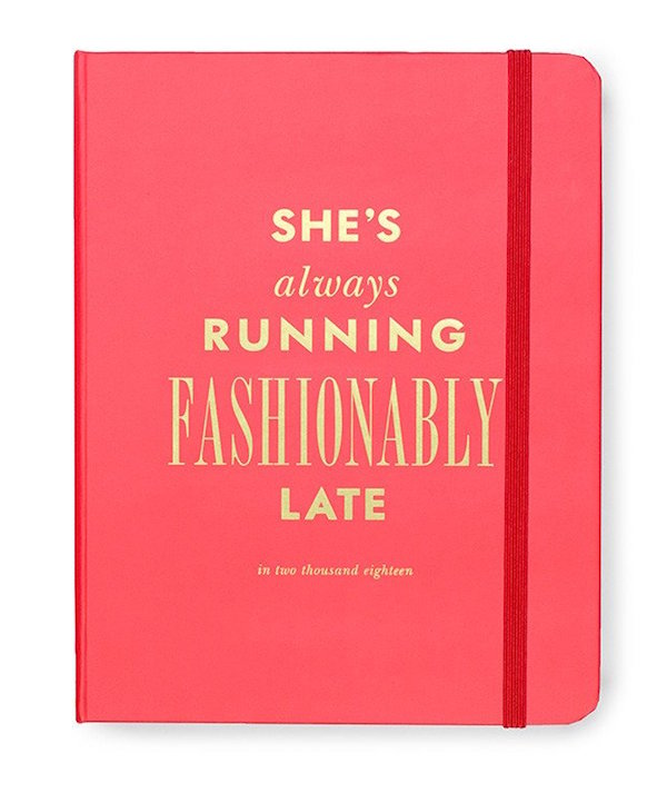"""Cool, pretty 2017-18 school year planners: Kate Spade's """"She's always running fashionably late."""""""