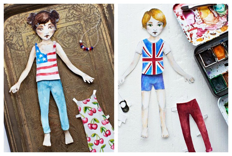 Free printable paper dolls: Brooklyn and London Paper Dolls by by Swedish artist Lova Blåvarg for Sweet Paul