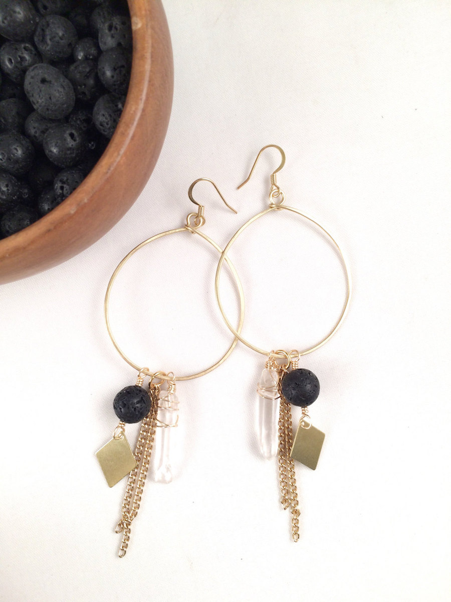 Essential Oil Jewelry: Hoop earrings at Quinn Sharp