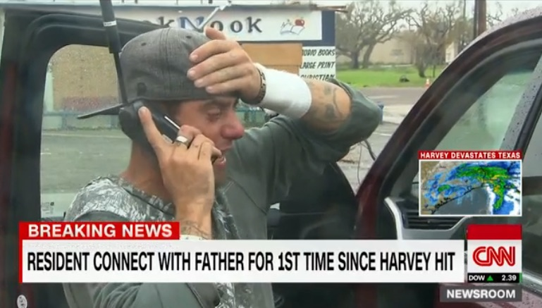 Journalists as heroes in Houston flooding: A wonderful father and son reunion thanks to a CNN crew