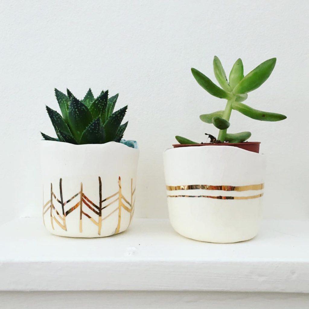 Handmade ceramic and 22K Gold Succulent Desk Planters