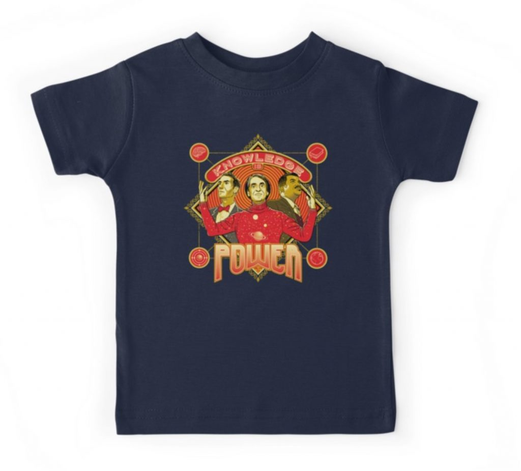 Knowledge is power tee for kids, featuring Carl Sagan, Bill Nye, and Neil Degrasse Tyson | cool mom picks