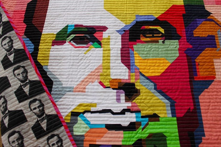 Lincoln quilt inspired by WPAP pop art, by Kim Smith of Leland Ave Studios
