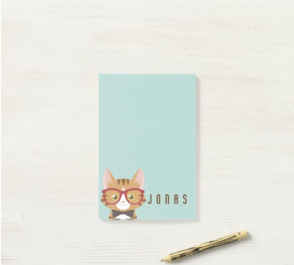 Personalized hipster cat Post-It Notepad