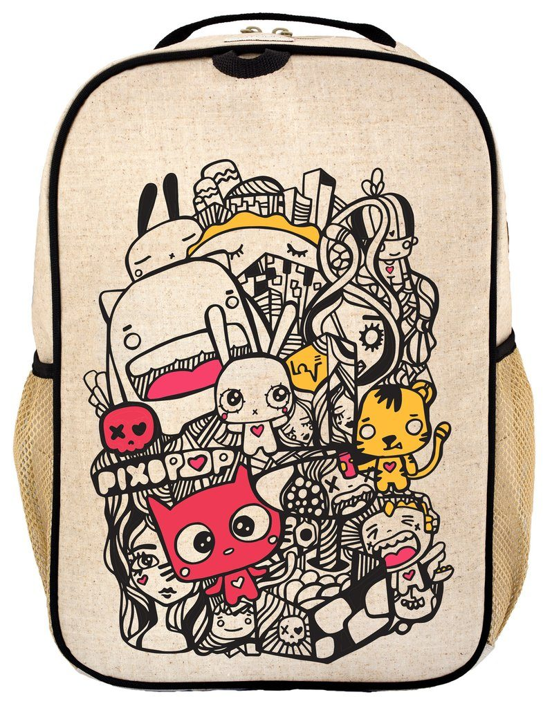 Pixipop x Soyoung's new collab brings anime style illustrations to durable, raw linen backpacks and lunch bags for kids | coolmompicks.com