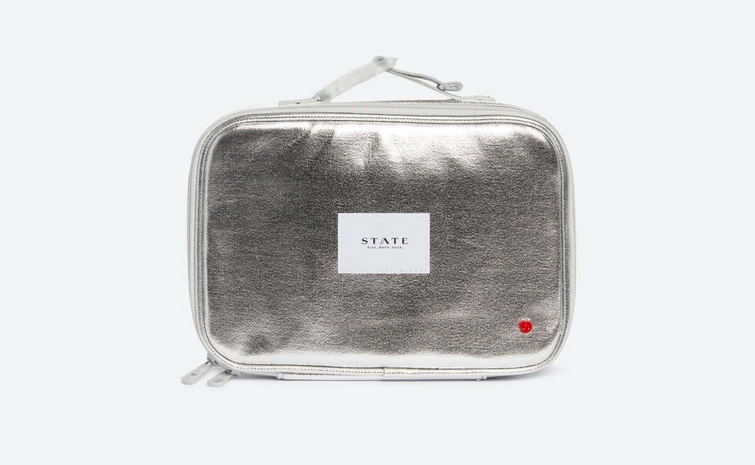Silver metallic lunch bag from State bags: Cool metallic desk supplies
