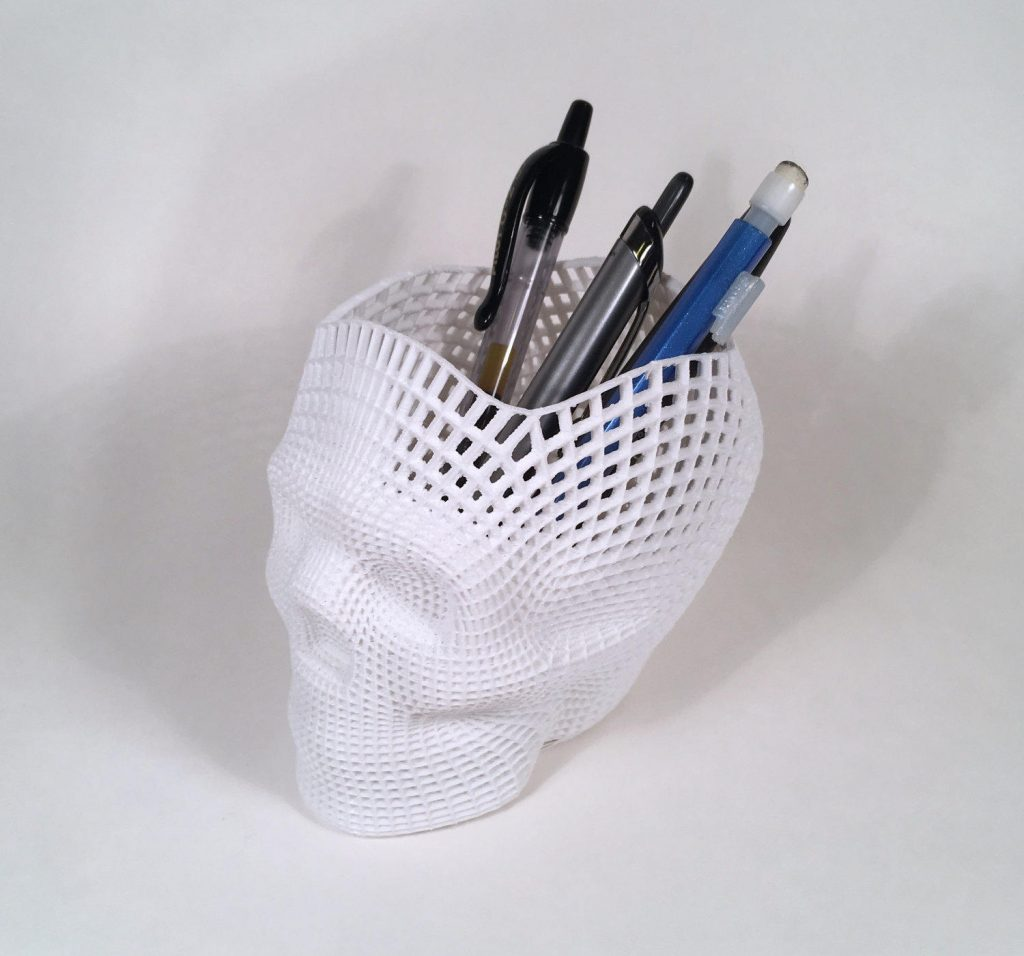3D printed skull pencil holder on Etsy | Cool back to school supplies 2017