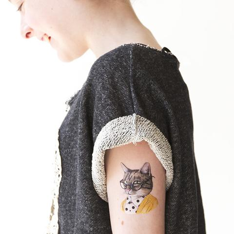 Smart kitty temporary tattoo by Berkley Illustration for Tattly