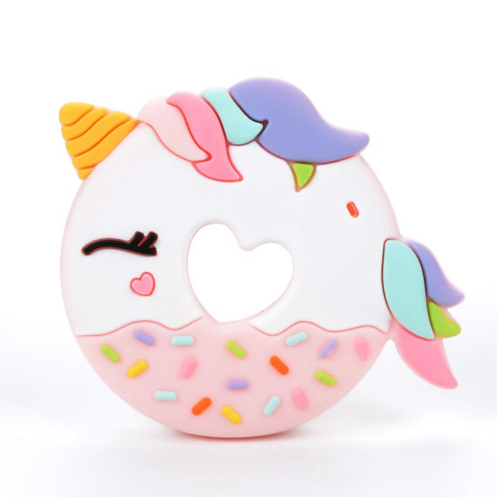 Unicorn donut teether by Loulou Lollipop