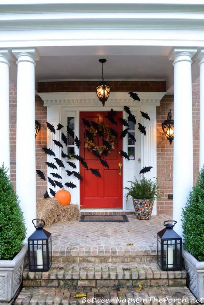 DIY Halloween door decorating ideas  | free printable template for Vampire bats from Between Naps on the Porch