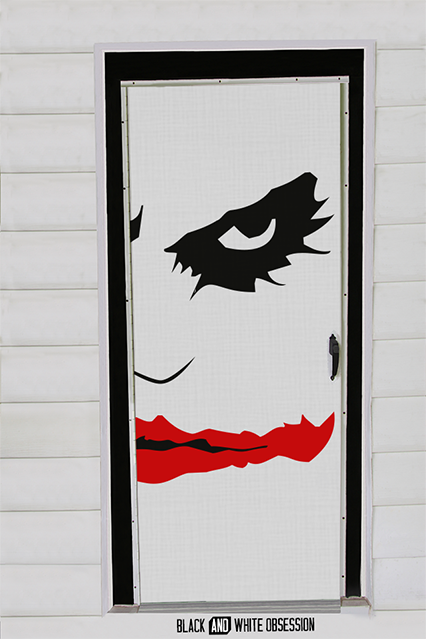 DIY Halloween door decorating ideas  | The Joker Batman: The Dark Knight from Black and White Obsession