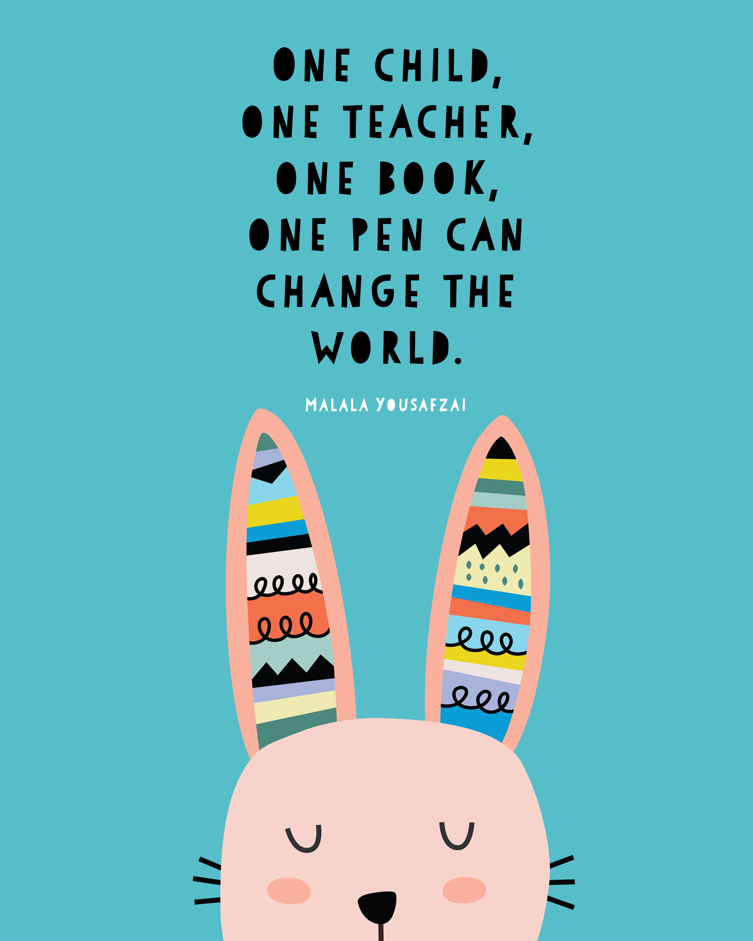 Free printable Malala Yousafzai quote print: One child, one teacher, one book, one pen can change the world | by KRAFT&MINT design exclusive for coolmompicks.com