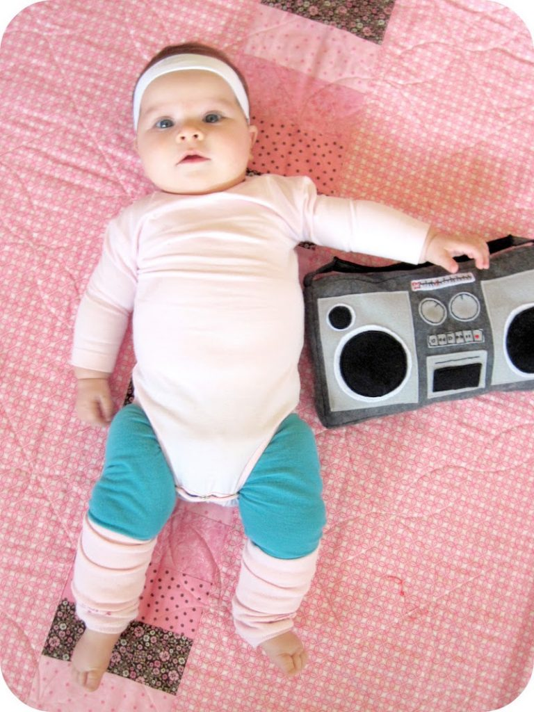 Easy baby Halloween costumes from onesies: Aerobics Instructor by Homemade by Jill