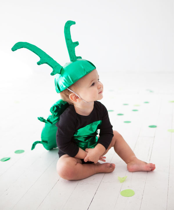 Baby Halloween costumes from a onesie: Beetle Baby Costume by Oh Happy Day