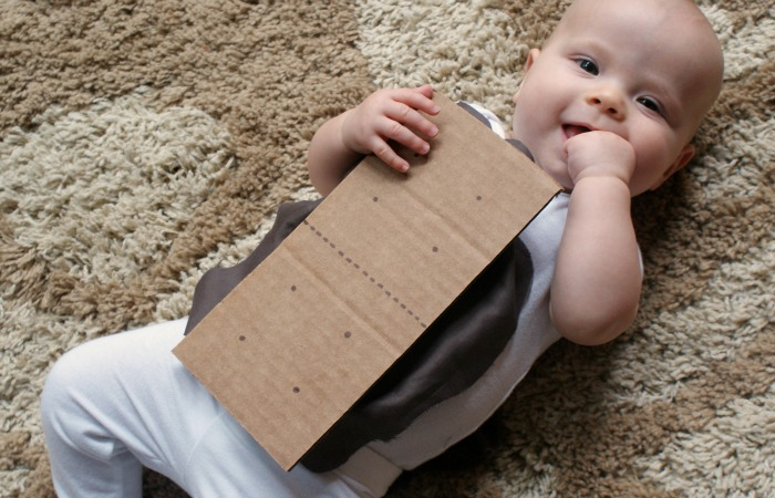 Baby Halloween costumes from onesies: S'Mores Baby Costume by Nerdy Mama