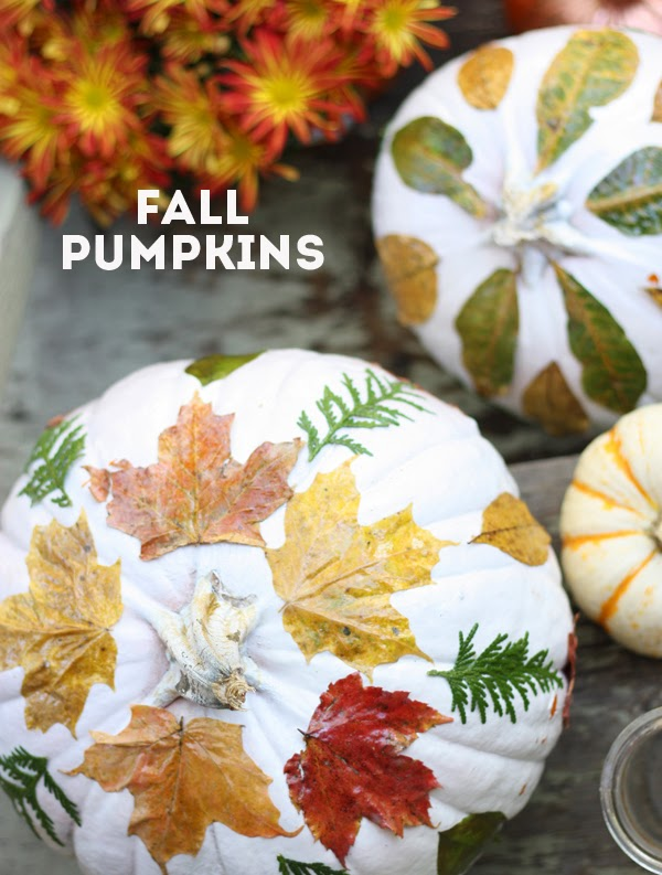 Kids crafts using fall leaves:  DIY Fall Leaf Pumpkins perfect for a Thanksgiving centerpiece| The Sweet Escape