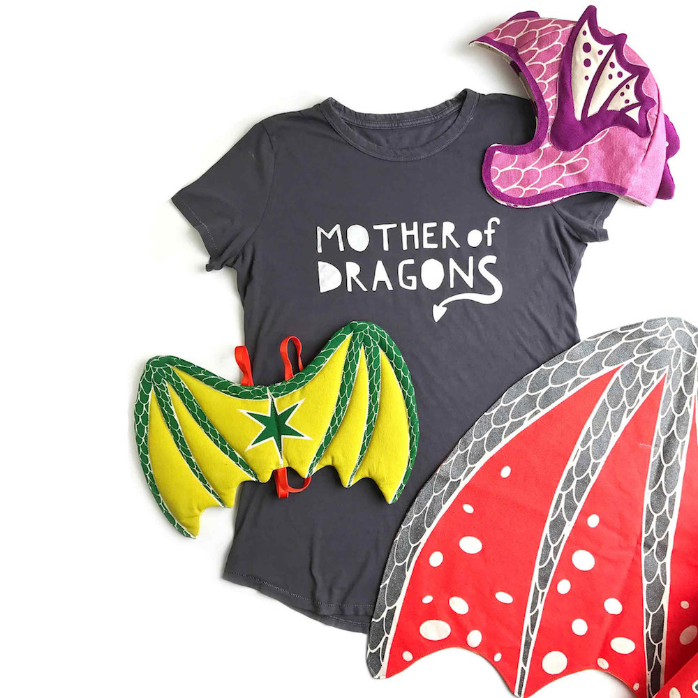 Kids' Game of Thrones costume ideas: Mother of Dragons tee and handmade dragon accessories from Lovelane