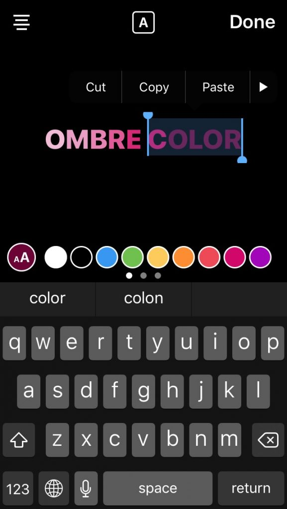 Instagram stories design tip: Making Ombre type in your text overlay | coolmomtech.com