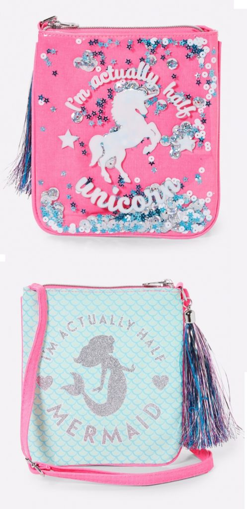 Fun two-sided mermaid and unicorn purse from Justice