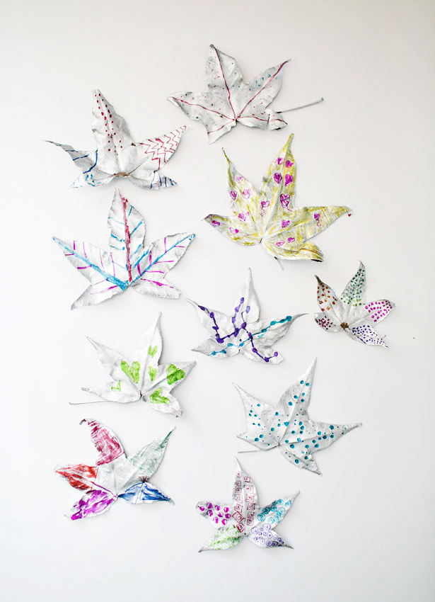 Kids crafts using fall leaves:  Silver Leaf Art | Hello, Wonderful