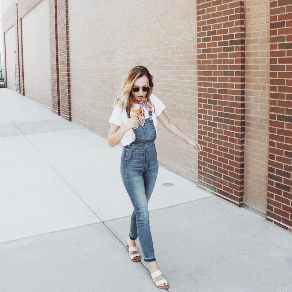 Must-have 90s-style wardrobe items: Overalls | photo via Klaire Osborne on Instagram
