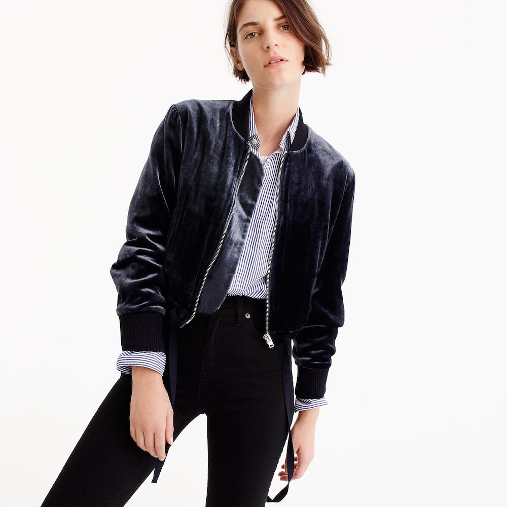 How to wear 90s style today: A velvet statement piece, like this bomber jacket at J. Crew.